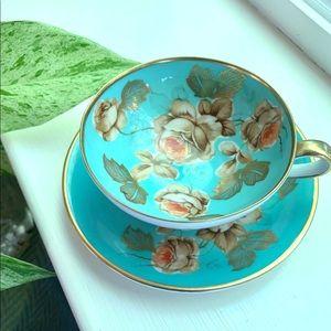 Antique Demitasse Teacup Blue Floral Gold Germany